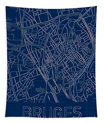 Tapestry featuring the digital art Bruges Blueprint City Map by Helge