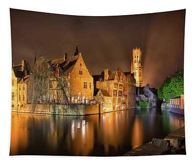 Brugge Belgium Belfry Night Tapestry