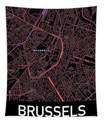 Tapestry featuring the digital art Brussels City Map by Helge