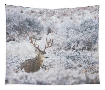 Buck In The Snow Tapestry