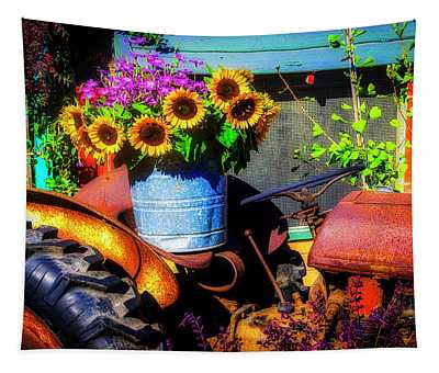 Bucket Of Sunflowers On Old Tractor Seat Tapestry