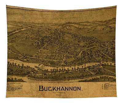 Buckhannon West Virginia Vintage City Street Map 1900 Tapestry