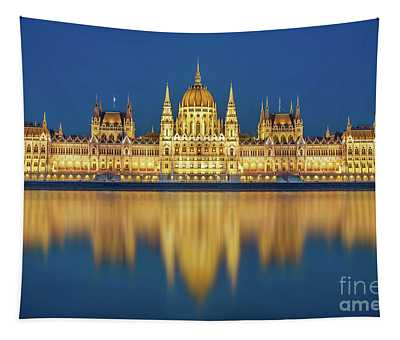 Budapest Parliament At Night Tapestry