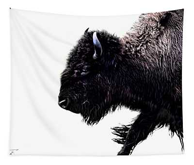 Buffalo On White Tapestry