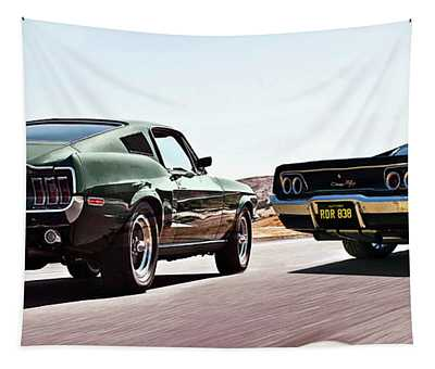 Bullitt, Car Chase Scene, 1968 Ford Mustang Gt And Dodge Charger R T Tapestry