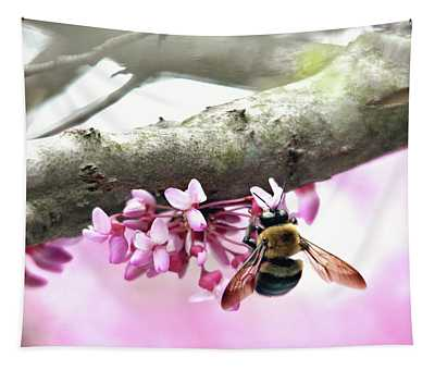 Bumblebee On Redbud Flower Tapestry