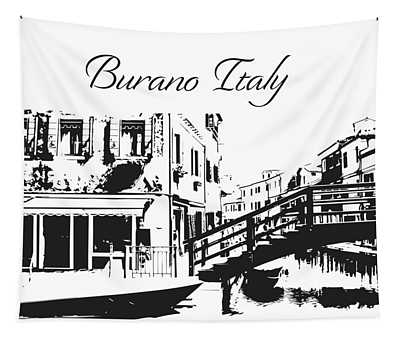 Burano Italy Silhouette  Tapestry