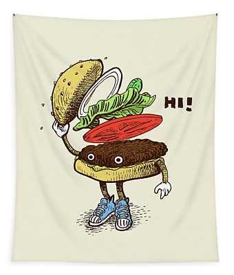 Burger Greeting Tapestry