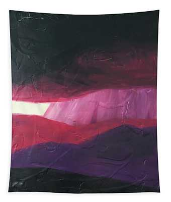 Burgundy Storm On The Horizon Tapestry