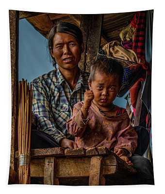 Burmese Mother And Child Tapestry