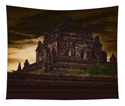 Burmese Stupa At Sundown Tapestry