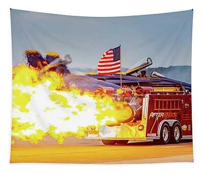 Burst Of Flames Jet Fire Truck Tapestry