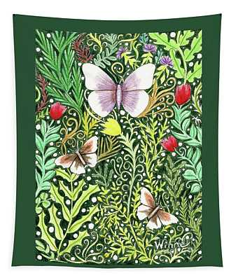 Butterflies In The Millefleurs Tapestry