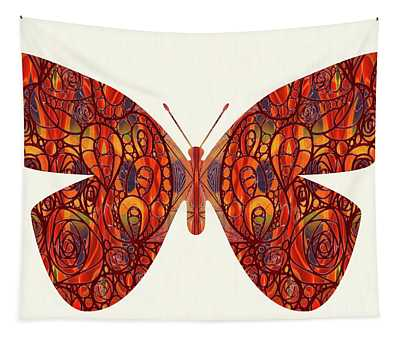 Butterfly Illustration Art - Complex Realities - Omaste Witkowski Tapestry