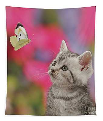 Butterfly Kitty Tapestry