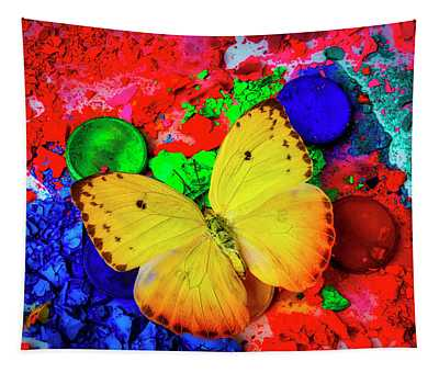 Butterfly On Chalk Paint Tapestry