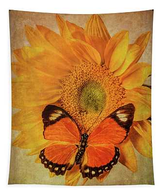 Butterfly On Textured Sunflower Tapestry