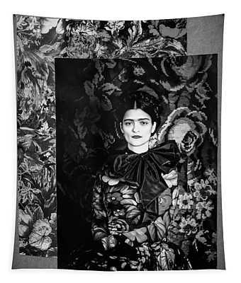 Bw Frida Kahlo Black White  Tapestry