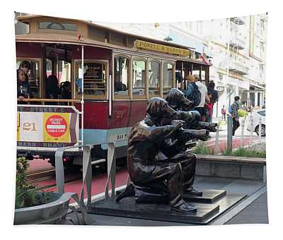 Cable Car And Paparazzi Dogs Tapestry