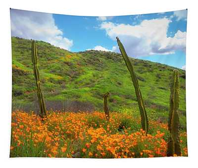 Cacti And Poppies Tapestry