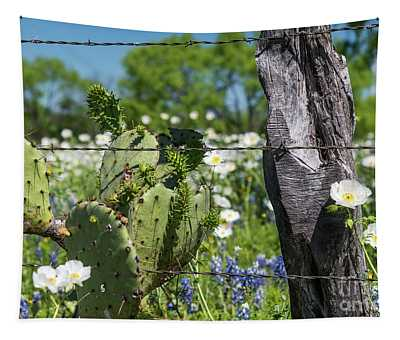 Cactus And Wildflowers Tapestry