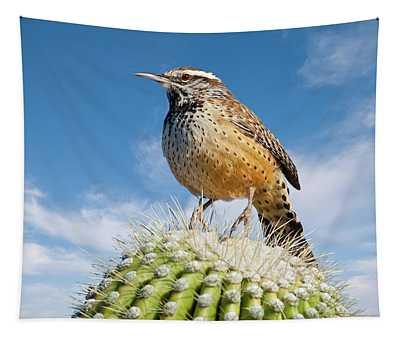 Cactus Wren On A Saguaro Cactus Tapestry