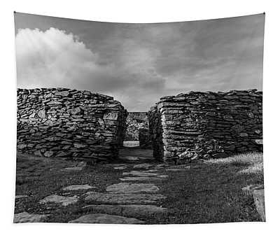 Cahergall Stone Fort Ireland Black And White Tapestry