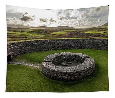 Cahergall Stone Fort Ireland Panaramic  Tapestry