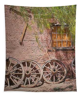 Calico Ghost Town Wagon Wheels Tapestry