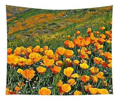 California Golden Poppies And Goldfields Tapestry