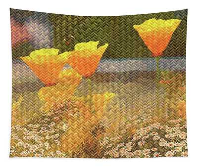 Californian Poppies On Basket Weave Tapestry