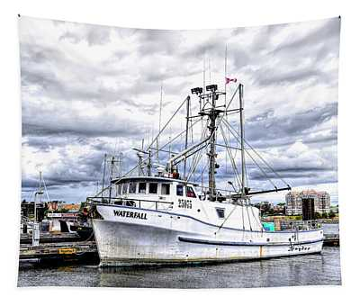 Canadian Fishing Boat Waterfall Tapestry