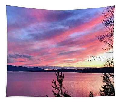 Canadian Geese Over Smith Mountain Lake At Sunset. Tapestry