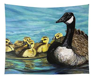 Canadian Goise And Goslings Tapestry