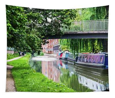 Canal With Boats Tied Up Under Bridge And Reflections In Water Near Oxford England  Tapestry
