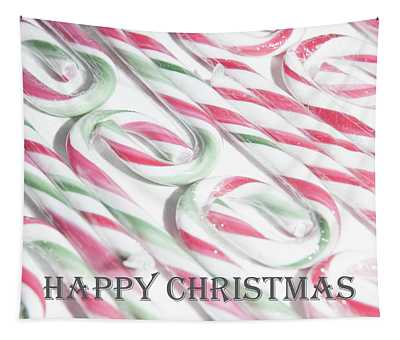 Candy Cane Swirls - Happy Christmas Tapestry