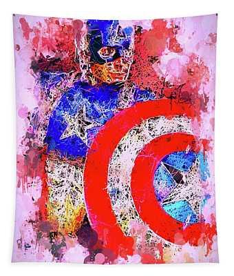 Captain America Watercolor Tapestry
