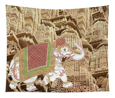 Caparisoned Elephants  Tapestry