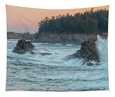 Cape Arago Lighthouse With A Splash Tapestry