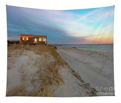 Cape Cod Beach House At Sunset Tapestry