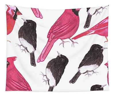 Cardinals And Black Phoebe Watercolor Birds Tapestry