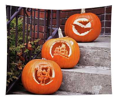 Carved Pumpkins For Autumn Holidays Tapestry