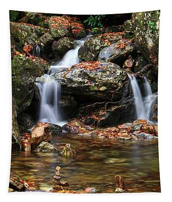 Cascades In Fall With Cairn Rocks Tapestry