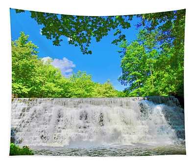 Cascading Waterfalls Over Weir Dam Blue Ridge Parkway Virginia Tapestry