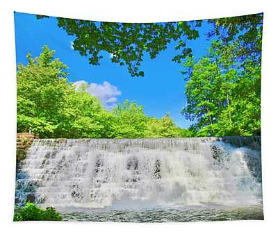 Cascading Waterfalls Over Weir Dam Blue Ridge Parkway Virginia Tapestry