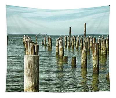 Tapestry featuring the photograph Casino Pilings At Cape Charles Virginia by Bill Swartwout Fine Art Photography
