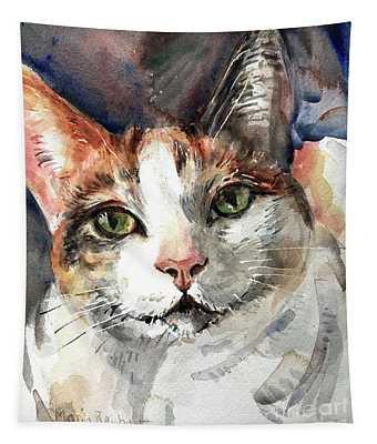 Cat In Watercolor Tapestry