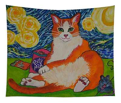 Cat Nipped  Tapestry