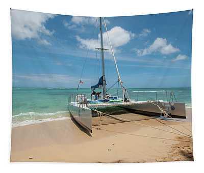 Catamaran On Waikiki Tapestry