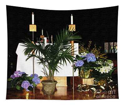 Catholic Church Altar At Easter Textured Effect Tapestry